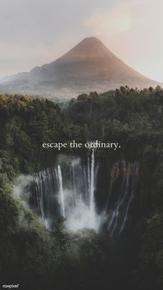 View of Mount Bromo and Tumpak Sewu Waterfalls, Indonesia mobile phone wallpaper | premium image by rawpixel.com / Luke Stackpoole Good Vibes Quotes, View Quotes, Waterfall Quotes, Nature View, Art Nature, Travel Captions, Summer Landscape, Nature Quotes, Greatest Adventure