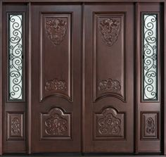 Mahogany Solid Wood Front Door - Double