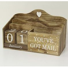 Wooden Letter Rack and Calendar with Cut Out Heart, Pen Holder 'You've Got Mail'