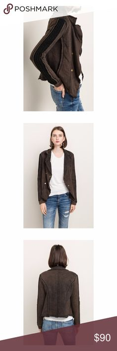 Flutter Collar Sweater Mix Terry Jacket Mystree Flutter Collar Sweater Mix Terry Jacket  Material: 100% Cotton   Model is wearing a size S Mystree Jackets & Coats