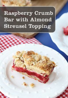 This Raspberry Crumb Bar recipe with Almond Streusel Topping is a tasty treat for breakfast or dessert.