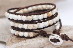 Gemstone jewellery. White turquoise triple wrap leather bracelet