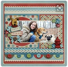 Pet scrapbook layout - love the circle border with buttons Dog Scrapbook Layouts, Album Scrapbook, Scrapbook Sketches, Scrapbook Paper Crafts, Scrapbook Supplies, Picture Scrapbook, Scrapbook Designs, Photo Layouts, Making Ideas