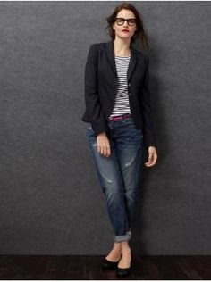 love the striped shirt, relaxed jeans with rolled cuffs and a fitted blazer