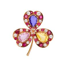 Betteridge Collection Tri-Color Sapphire Clover Brooch with Ruby & Diamond