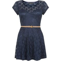 Mela Navy Lace Belted Skater Dress (2,275 INR) ❤ liked on Polyvore featuring dresses, vestido, navy dress, fit flare dress, blue dress, navy blue skater dress and lace skater dress