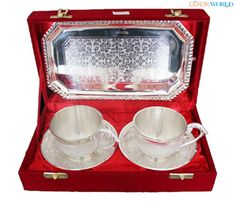 Silver Plated #TeaSet With Tray - Set of 3 Pcs. #HomeDecor