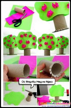 Toilet paper roll crafts - treecraft idea for kids crafts and worksheets fo Kids Crafts, Tree Crafts, Toddler Crafts, Preschool Crafts, Projects For Kids, Diy For Kids, Easter Crafts, Toilet Roll Craft, Toilet Paper Roll Crafts