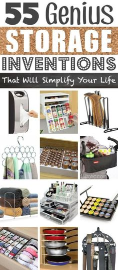 A ton of awesome organization ideas for the home (car too! A lot of these are really clever storage solutions for small spaces. - 55 Genius Storage Inventions That Will Simplify Your Life - Diy Organization Ideas Diy Organizer, Kitchen Organization, Storage Organization, Kitchen Storage, Closet Storage, Storage Hacks, Craft Storage, Bathroom Storage, Clever Storage Ideas