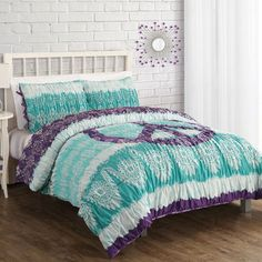 Bed Ink Peace Lace Batik Comforter Set | Wayfair  For baby girl's room when she gives up peace signs her WHOLE room will need to be redone.  LOL
