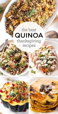 These are the BEST Quinoa Thanksgiving Recipes! These healthy recipes are great for a crowd. We've got easy side dishes, lots of veggies, stuffings, salads, even breakfasts! Most are vegan and gluten-free too! Traditional Thanksgiving Recipes, Healthy Thanksgiving Recipes, Vegetarian Thanksgiving, Thanksgiving Appetizers, Thanksgiving Side Dishes, Vegan Quinoa Recipes, Healthy Recipes, Veggie Recipes, Side Dishes Easy