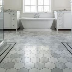 Love This Floor   Large Marble Hex Tile With Thin Black Border