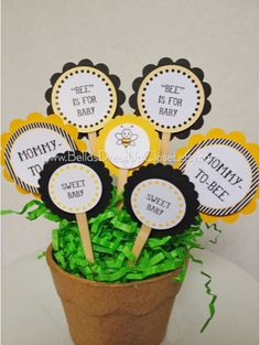 24 Bumble Bee Baby Shower Cupcake Toppers by BellasDressUpCloset, $15.95