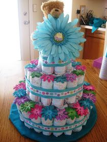 Diaper Cake- Baby Girl (learned to use Pamper's for the next diaper cake- they're white)