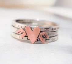 Flying Heart Personalized Rings in Sterling Silver