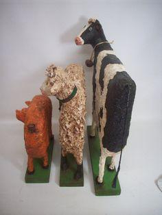Animales arte popular primitivo papel por papiermoonprimitives