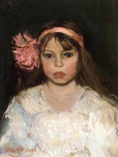 Girl with Pink Ribbon - George Benjamin Luks - The Athenaeum