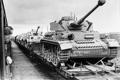 Large numbers of Panzer 4 tanks being transported by rail
