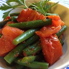 Steamed Green Beans with Roasted Tomatoes Allrecipes.com - Sounds like a nice variation - need 1 hour to roast tomatoes though.