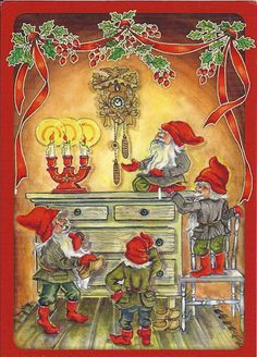 Ingrid Elf, Christmas card 10 x Finland Swedish Christmas, Winter Christmas, Christmas Cards, Christmas Decorations, Winter Scenery, All Nature, Mythological Creatures, Country Art, Winter Solstice