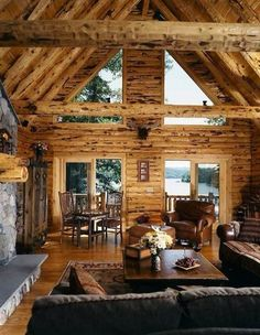 Log cabin with view of water