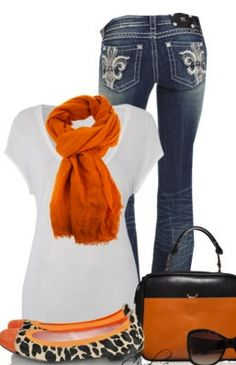 We love the hint of orange in this outfit! :)