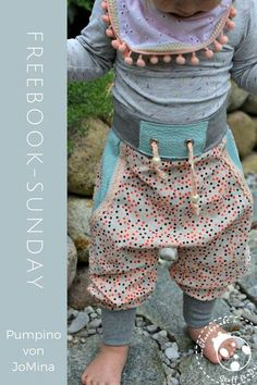 """*Freebook-Sunday - äh, -Tuesday - """"Pumpino"""" von JoMina* - Musselin/Double Gauze """"Little Points"""" kombiniert mit Baumwolle """"Waffle Points"""", sowie Stric - # Baby Knitting Patterns, Knitting Designs, Crochet Patterns, Baby Outfits, Outfits For Teens, Toddler Outfits, Toddler Fashion, Kids Fashion, Diy Mode"""