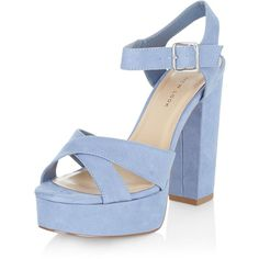 New Look Wide Fit Blue Suedette Cross Strap Block Heels (€36) ❤ liked on Polyvore featuring shoes, pumps, blue, ankle wrap pumps, ankle strap high heel pumps, block heel pumps, wide pumps and ankle strap pumps