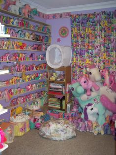 Decorating girl's bedroom usually uses a cute theme and a pleasant style. Little pony is a cute animal which often be used to represent a fairy tale story. There is some little pony theme film too. The cute figure of… Continue Reading → Vintage My Little Pony, My Little Pony Bedroom, My Little Pony Collection, Little Poni, Cute Themes, Kawaii Room, Indie Kids, Bedroom Themes, Bedroom Decor