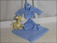 Ravelry: Baby Blue Faux Stockinette Baby Set pattern by Yarn Twins