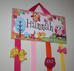 Owls Love Birdies Large 4 Strand Hair Clip BOW HOLDER Girls Bedroom Wall Art Decor