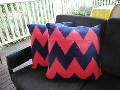 Chevron crocheted cushions by Australian crafter and blogger, Kylie Hunt