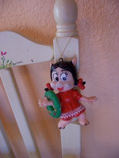 adorable plastic girl piggy ornament