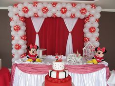Criando Sonhos: DECORAÇÃO DE FESTA INFANTIL MINIE VERMELHA Minnie Mouse Birthday Decorations, Minnie Mouse Balloons, Minnie Birthday, Minnie Mouse Party, 1st Birthday Girls, Birthday Balloons, Birthday Party Design, Birthday Parties, Indian Wedding Deco
