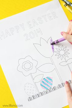 Happy Easter Coloring Pages - free on { lilluna.com }
