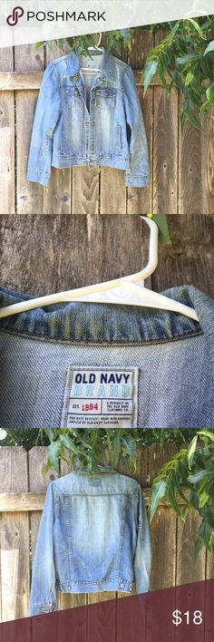 {Old Navy Jean Jacket} Great quality jean jacket. In good condition besides some browning around the collar, pictured. You can't see it when it is on. Old Navy Jackets & Coats Jean Jackets