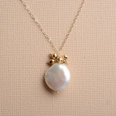 white pearl necklace gold chain necklace bridesmaid by izuly, $59.00