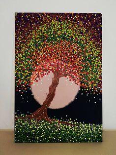 Mandala And Creativity Stones - renkli noktalar Acrylic Artwork, Dot Art Painting, Mandala Painting, Mandala Art, Stone Painting, Painting & Drawing, Tree Art, Mandala Design, Mosaic Art