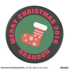 Christmas Stocking Hockey Puck