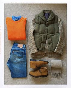 Today's Outfit. Wool Down Vest Harris Tweed Jacket Shetland Sweater Denim BD-Shirts Wool Scarf Circle-R Suede Ryder Western Outfits, Preppy Dresses, Nice Dresses, Casual Wear, Casual Outfits, Neue Outfits, Engineered Garments, Moda Casual, Outfit Grid