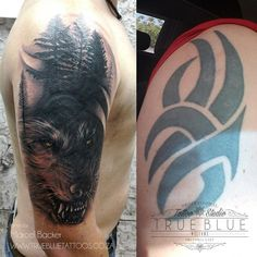 """""""Wolf Cover Up"""" by Marcel Backer of True Blue Professional Tattoo Studio Tribal Cover Up, Black Tattoo Cover Up, Cover Up Tattoos, Hunting Tattoos, Blue Tattoo, Old Tattoos, Professional Tattoo, Shoulder Tattoo, Black And Grey Tattoos"""