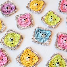 Teddy Bear Granny Square - Download this free pattern at allcrochetpatterns.net