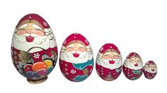 5 Piece Wood Burned Egg Santa Claus Russian Wood Christmas Nesting Dolls