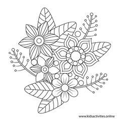 Spring Flowers Coloring Pages For Adults Printable ⋆ Kids Activities Flower Coloring Sheets, Colouring Sheets For Adults, Rose Coloring Pages, Spring Coloring Pages, Free Coloring Sheets, Printable Adult Coloring Pages, Mandala Coloring Pages, Coloring Books, Simple Paper Flower