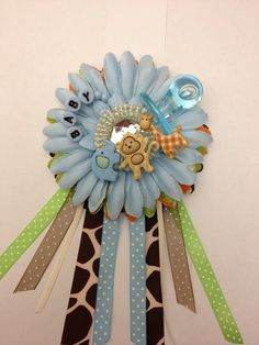 Safari/Jungle theme baby shower corsage. Perfect for jungle or monkey themed shower.
