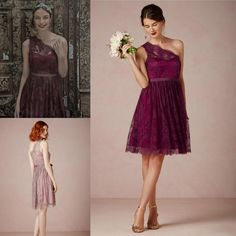 4cb0d6ab11c6 2015 Lace Burgundy Short Bridesmaid Wedding Party Dresses 2015 Vintage  Custom Made One Shoulder Cheap Red