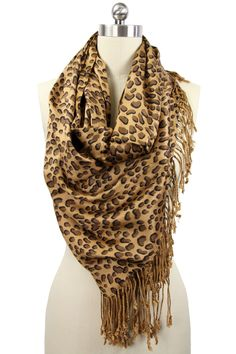 Saachi Leopard Print Scarf in Beige and Brown - Beyond the Rack