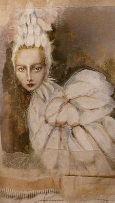 Bird Woman - Kate Thompson, mixed media painting, casein white paint, watercolors, alcohol inks on vintage fabric