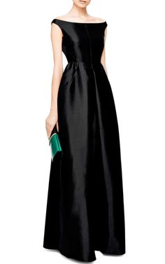 Off-The-Shoulder Pleat-Front Taffeta Gown by Rochas - Moda Operandi