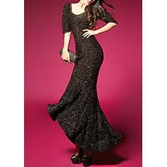 Sexy Style Short Sleeves Open Back Sequin Women's Maxi-Dress